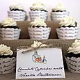 Peter Rabbit Birthday Party - cupcakes w/ custom label, wrappers & stand